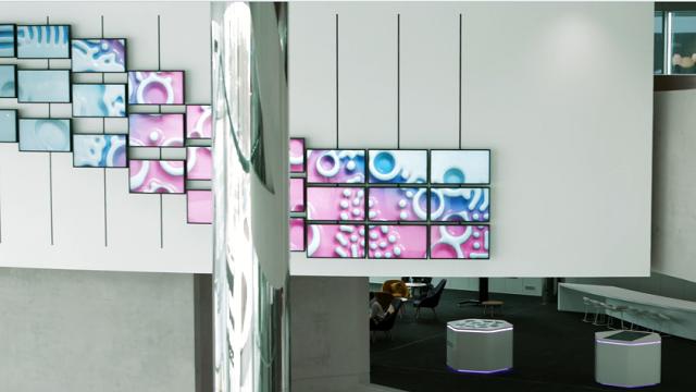 Merck Innovation Center lobby kinetic installation | STASH MAGAZINE