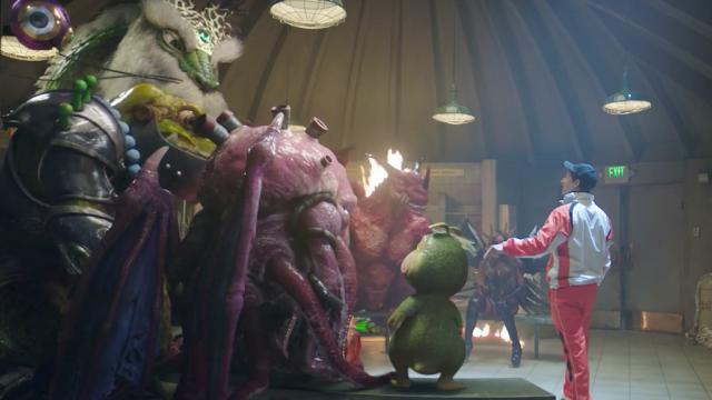 Tippett and Andy Samberg in the Monster Strike Locker Room